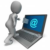 Email Sign On Laptop Shows E-mail Mailing