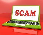 Scam Laptop Shows Scheming Hoax Deceit And Fraud Online