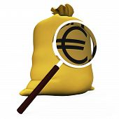 Euros Sack Shows European Money Eur Or Cash