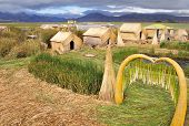 Uros islands with small houses.