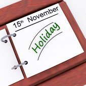 Holiday On Planner Shows Vacation Date Booked