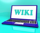 Wiki Laptop Shows Online Websites Knowledge Or Encyclopedia