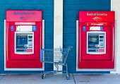 Sacramento, Usa - September 23: Bank Of America Atms On September 23, 2013 In Sacramento, California