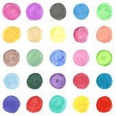 Set of colorful watercolor hand painted circle. Vector