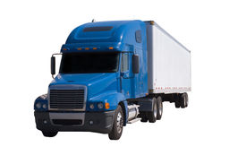 stock photo of tractor-trailer  - a blue semi truck with a white trailer attached - JPG