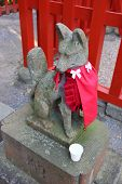 Fox Statue At Shinto Temple