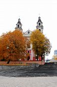 picture of archangel  - Vilnius archangel church on the board river Neris - JPG