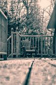 Snow Covered Muskoka Chair - Retro
