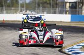 Sebring, FL - Mar 14, 2014:  The Muscle Milk Pickett Racing Oreca takes to the track for a practice