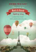 Vintage wedding invitation card with Paris and hot air balloons, vector illustration
