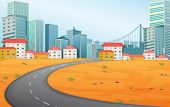 stock photo of landforms  - Illustration of a narrow road going to the city - JPG