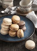 French Macaroons.  Coffee, Chocolate And Vanilla Macarons