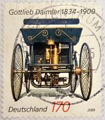 GERMANY - CIRCA 2009: Stamp printed in germany shows Gottlieb Daimler old car circa 2009