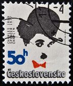 CZECHOSLOVAKIA - CIRCA 1989: Stamp printed in Czechoslovakia shows actor Charles Chaplin circa 1989