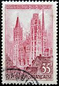 FRANCE - CIRCA 1957: A stamp printed in the France shows Rouen Cathedral circa 1957