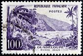 FRANCE - CIRCA 1957: stamp printed in France shows Guadeloupe Sens river circa 1957