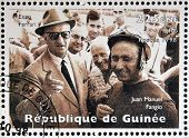 GUINEA - CIRCA 1998: Stamp printed in Guinea dedicated to anniversary of Enzo Ferrari