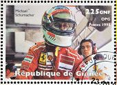 GUINEA - CIRCA 1998: Stamp printed in Guinea shows Michael Schumacher