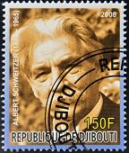 DJIBOUTI - CIRCA 2008: stamp printed in Djibouti  shows Albert Schweitzer