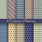 Classic different vector seamless patterns (tiling)