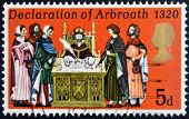 UNITED KINGDOM - CIRCA 1970: A stamp printed in United Kingdom shows the Declaration of Arbroath