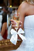 Wedding Glass Of Champagne In Hand Bride