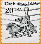 A Stamp printed in USA shows the Cog Railway