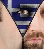 Unzipping Face To Flag Of Greece