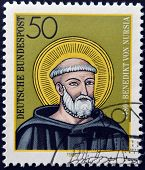 GERMANY - CIRCA 1980: a stamp printed in Germany shows St. Benedict of Nursia circa 1980