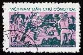 Postage Stamp Vietnam 1973 Road Building, Youth