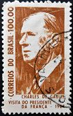 BRAZIL - CIRCA 1964: A stamp printed in Brazil shows Charles de Gaulle President of France