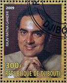 DJIBOUTY - CIRCA 2009: A stamp printed in Djibouty shows Rajiv Ratna Gandhi circa 2009