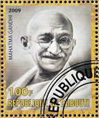 DJIBOUTY - CIRCA 2009: A stamp printed in Djibouty shows Mahatma Gandhi circa 2009