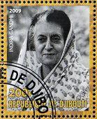 DJIBOUTY - CIRCA 2009: A stamp printed in Djibouty shows Indira Gandhi circa 2009