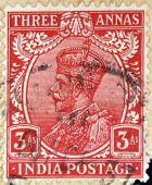 INDIA - CIRCA 1934: A stamp printed in India shows King George V circa 1934