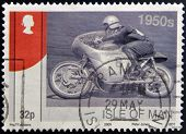 ISLE OF MAN - CIRCA 2009: A stamp printed in Isle of Man dedicated to racing motorcycles of the 50