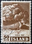 ICELAND - CIRCA 1948: A stamp printed in Iceland shows Volcano Hekla 1948 circa 1947