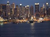 picture of new york night  - A portion of the New York City skyline at night - JPG