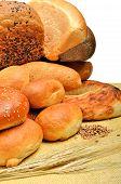 Fresh Bread, Wheat Grains And Wheat Ears