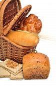 Fresh Bread And Wheat Ear In The Basket