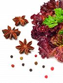 Red Curly Lettuce, Parsley And Anisetree