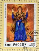 RUSSIA - 2000: Stamp printed in Russia dedicated to Christianity 2000 years shows Our Lady Oranta