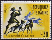 SAN MARINO - CIRCA 1961: A stamp printed in San Marino dedicated to hunting shows the batter