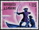 SAN MARINO - CIRCA 1961: A stamp printed in San Marino dedicated to hunting shows hunt ducks