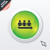 Queue sign icon. Long turn symbol.