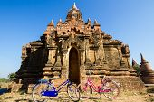 Tourist Transport: Bicycles Outside A Temple  In Bagan, Myanmar
