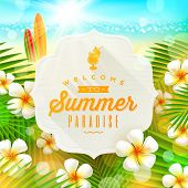 Banner with summer greeting and frangipani flowers against a  tropical  shore seascape with surfboar