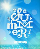 Summer greeting with summer things against a sunny seascape - vector illustration