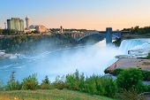 Niagara Falls sunrise in the morning closeup