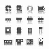 Computer circuit icons set